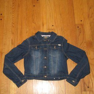 LUCKY BRAND FITTED CROPPED JEAN JACKET GIRLS XL